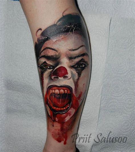 tattoo blog 187 clown tattoo pictures realistic evil clown tattoo on the calf
