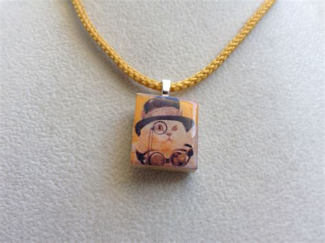 scrabble pendants scrabble tile pendant necklace steunk cats