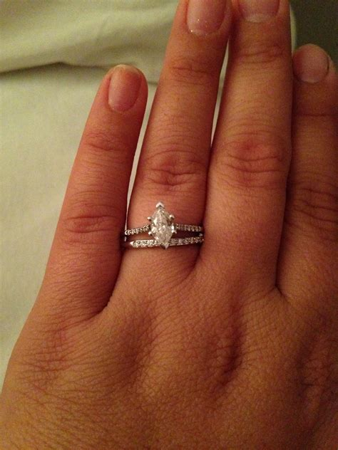wedding band for marquise engagement ring