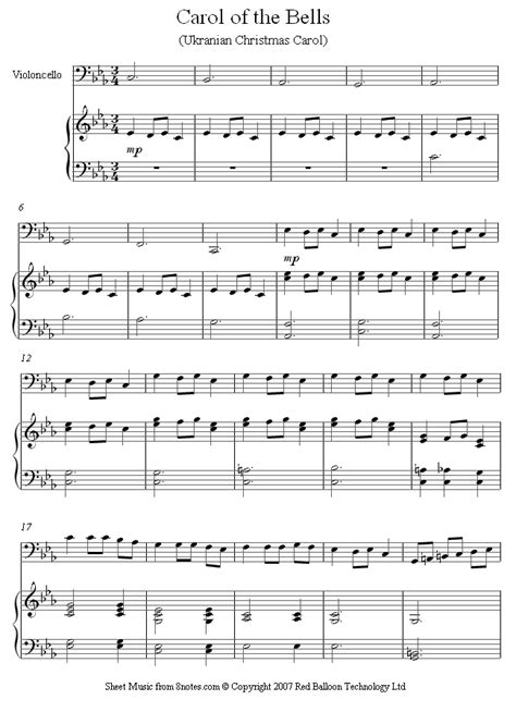 carol of the bells sheet music for cello 8notes com