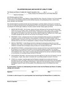 Volunteer Waiver Template by Volunteer Waiver And Release Form 3 Free Templates In