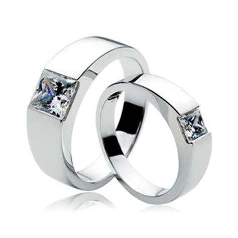 Berlian Cut dan cincin janjinya set untuk pasangan 2 karat nscd