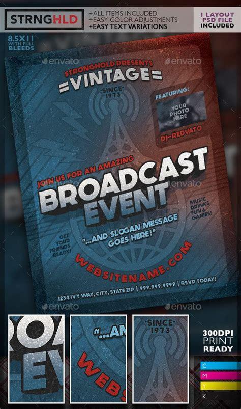 Template Photoshop Radio | vintage radio broadcast event flyer template radios