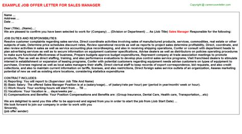 appointment letter format word sales manager sales manager offer letter