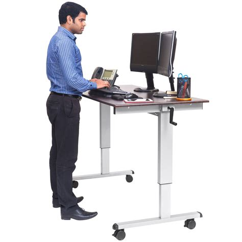luxor standup cf60 dw adjustable standing desk with silver