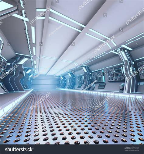 Spaceship Interior Layout by Futuristic Design Spaceship Interior Metal Floor Stock