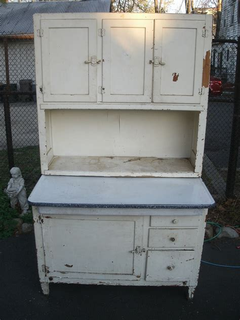 Vintage Hoosier Cabinet by Antique Shabby Chic Style White Wash Distressed Hoosier