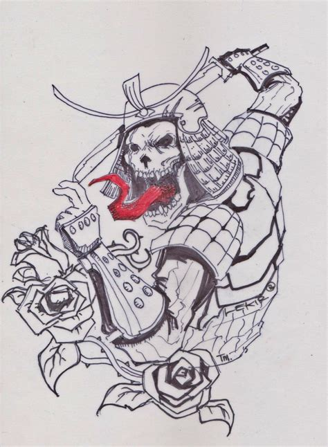 samurai skull design by lekir on deviantart