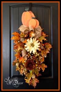 door wreaths with lights fall wreath with lights teardrop swag front door hanger wood