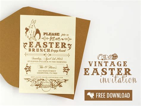 easter invitation template free vintage easter printable invitation