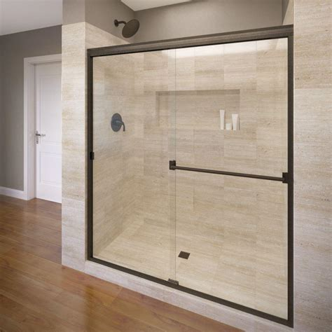 Semi Frameless Sliding Shower Doors Basco Classic 60 In X 70 In Semi Frameless Sliding Shower Door In Rubbed Bronze With Clear