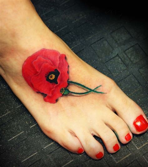 tattoos that look real 15 poppy designs