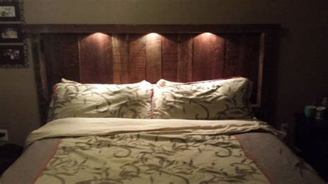 headboard light reclaimed wood headboard with lights and recepticles on