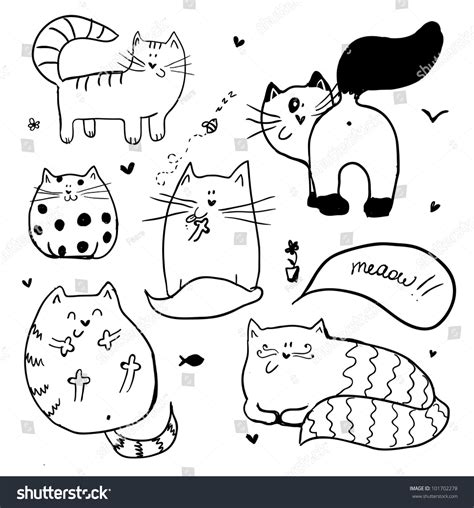 doodle cat doodle cats background stock vector 101702278