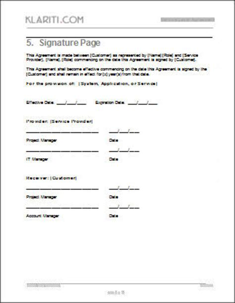 Service Level Agreement Sla Template Instant Download Contract Signature Page Template