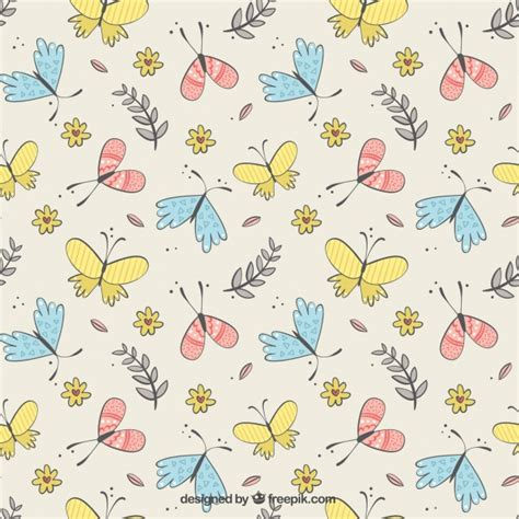 cute pattern vector free cute pattern of butterflies and flowers vector free download