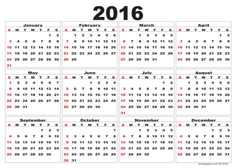 printable monthly 2016 year calendar 2016 calendar download