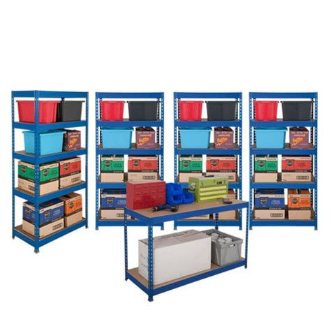 Garage Shelving On A Budget Industrial Budget Shelving 4 Bays And 1 Garage Workbench
