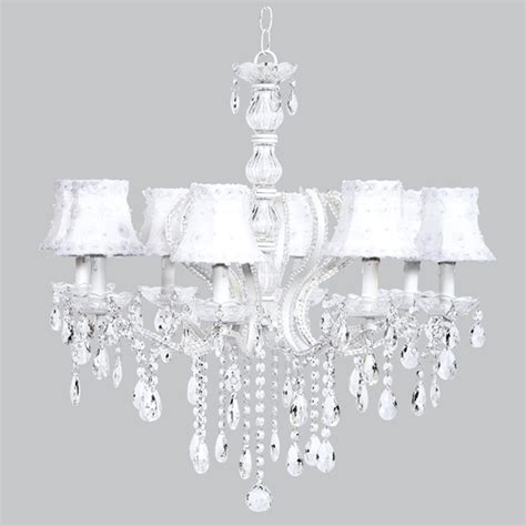 White Flower Chandelier Eight Arm Pageant White Beaded Chandelier With White Petal Flower Shades