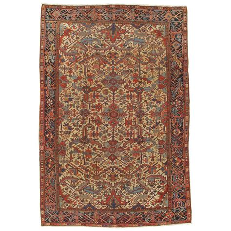 Navy Runner Rug Antique Heriz Northwest Runner Handmade Rug Navy Light Blue Gold Rust For Sale At 1stdibs