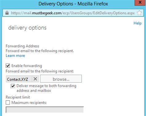 forwarding checker setup email forwarding in exchange 2013 mailbox