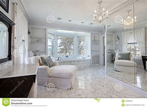 P Shaped Shower Bath master bath with lake view royalty free stock photo