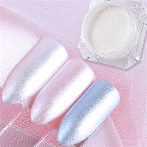 Pretty White 1 Set 5 Item born pretty 1 box pearl mermaid powder shining white nail glitter powder dust diy