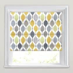 Yellow And Gray Bedroom Curtains - golden yellow lime grey stone amp white retro patterned roman blinds