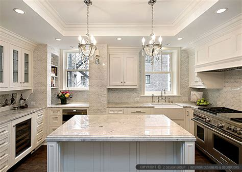 White Backsplash Tile For Kitchen white kitchen with calacatta gold backsplash tile