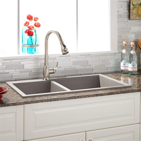 60 40 drop in kitchen sinks 34 quot sabelle 60 40 offset bowl drop in granite