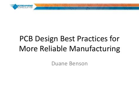 design for manufacturing slideshare pcb design best practices for more reliable manufacturing