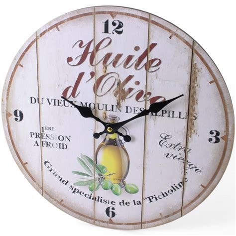 wholesale 34cm vintage silent round large wood kitchen wall clock olive oil 42713 large rustic retro kitchen wall clock 34cm