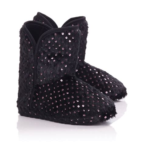 womans slipper boots womens black faux fur slipper boots