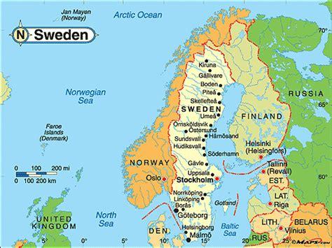 sweden on a map sweden map travelsfinders