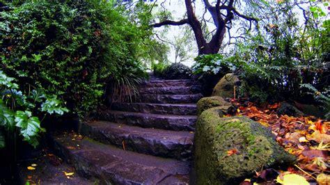 Desktop Rock Garden Hd Wallpaper Rock Stair Garden Autumn Falling Leaves China Desktop Backgrounds Hd 1080p