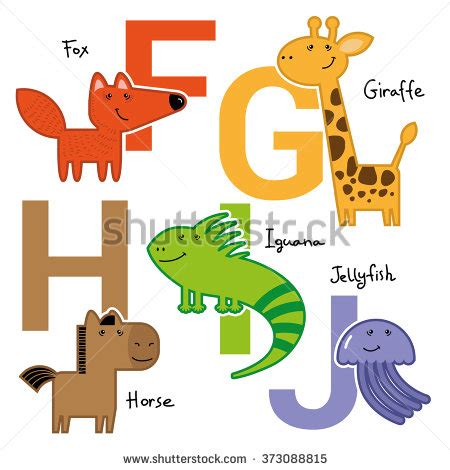 5 Letter Words Animal vector abc poster childish animals stock vector