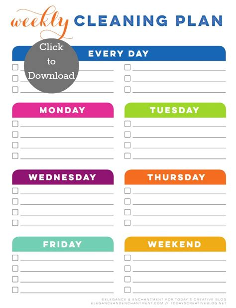 weekly cleaning schedule template weekly cleaning schedule printable today s creative