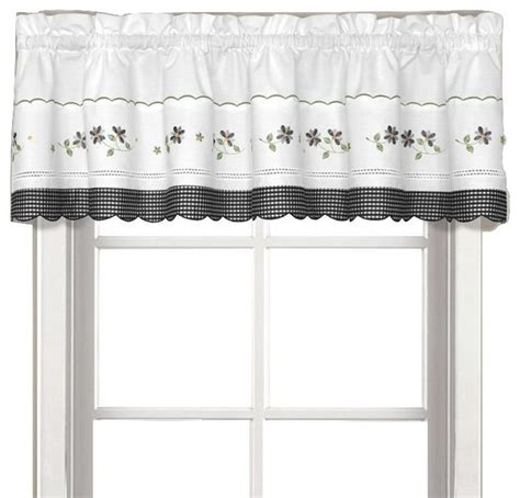 gingham black floral kitchen curtain traditional