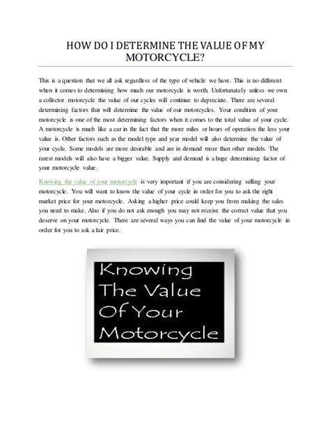 how do i determine the value of my motorcycle