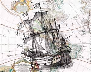 Old ship on antique map of america wall art