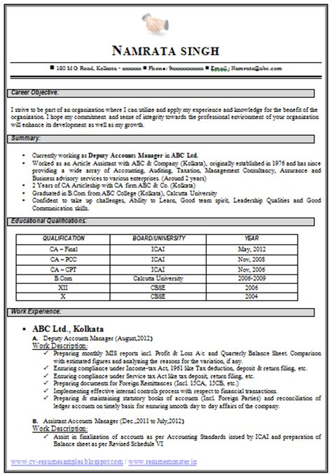 best resume format for freshers for accountant fresher accountant resume sle hola klonec co