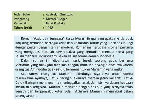 Novel Indonesia Buku Novel Azab Dan Sengsara Merari Siregar ppt menulis rangkuman ringkasan dan resensi buku