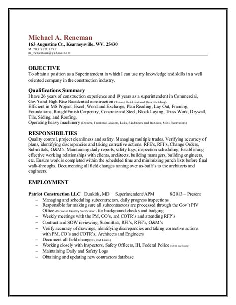sle resume for construction project manager sle resume objectives for management 28 images sle