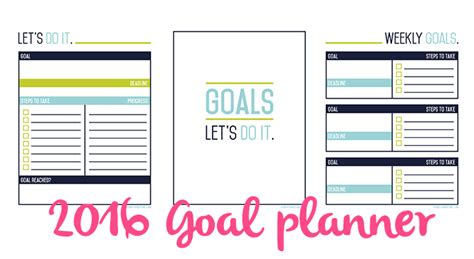 free printable goal planner 2015 2016 goals worksheet free download