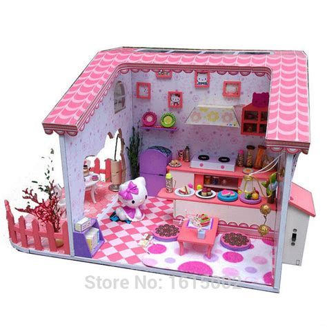 hello kitty wooden dolls house big sale diy wooden dollhouse hello kitty doll house baby girl kids hot toys with