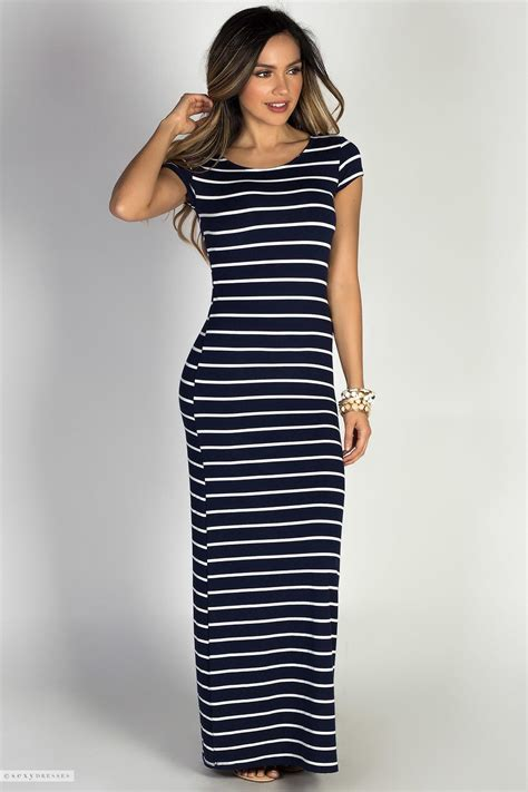Sleeve Striped Dress white navy stripe print jersey casual summer dress