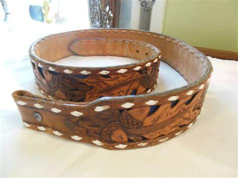western tooled leather belt blue cutout larry