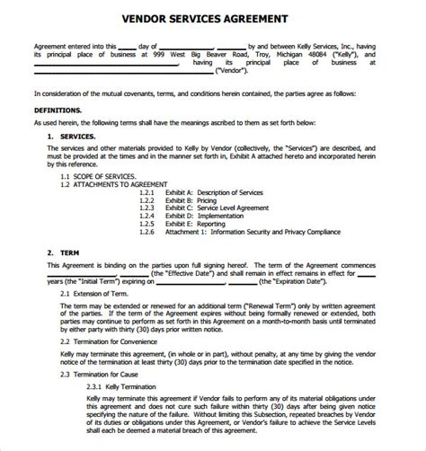 Agreement Letter For Supplier 14 vendor contract templates sles exles format