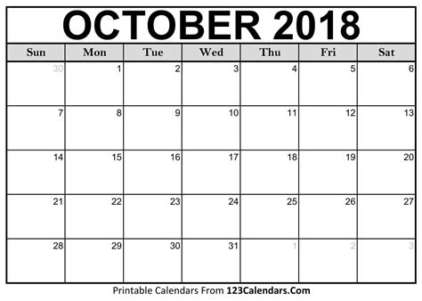 Printable October Calendar Template october 2018 calendar october 2018 printable calendar