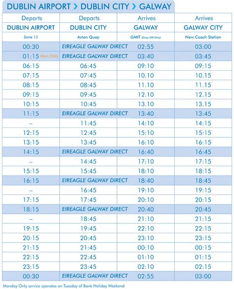 citylink timetables galway to dublin service